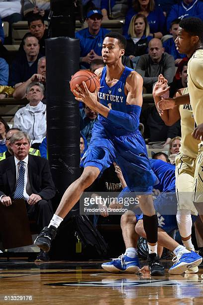 Skal Labissiere of the Kentucky Wildcats plays against the Vanderbilt Commodores at Memorial Gym on February 27 2016 in Nashville Tennessee...