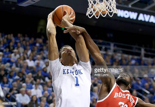 Skal Labissiere of the Kentucky Wildcats shoots the ball during the game against the Boston Terriers at Rupp Arena on November 24 2015 in Lexington...