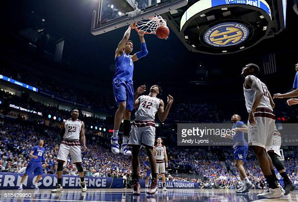Skal Labissiere of the Kentucky Wildcats shoots the ball in the 8277 OT win over the Texas AM Aggies in the Championship Game of the SEC Basketball...