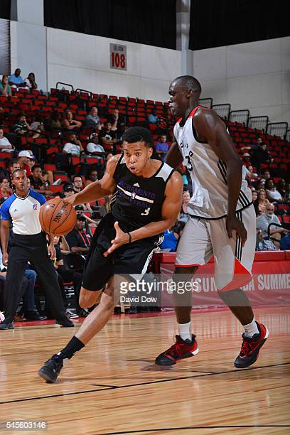 Skal Labissiere of the Sacramento Kings drives to the basket against the Toronto Raptors during the 2016 Las Vegas Summer League on July 8 2016 at...