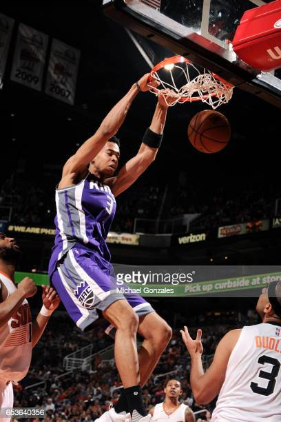 Skal Labissiere of the Sacramento Kings dunks the ball during the game against the Phoenix Suns on March 15 2017 at US Airways Center in Phoenix...