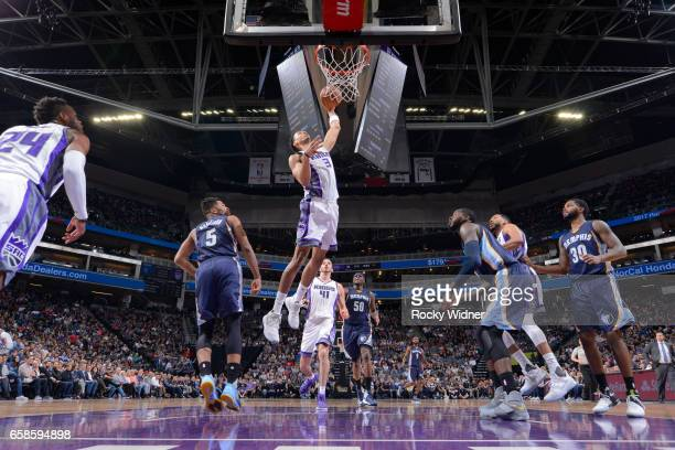 Skal Labissiere of the Sacramento Kings goes up for a dunk during a game against the Memphis Grizzlies on March 27 2017 at Golden 1 Center in...