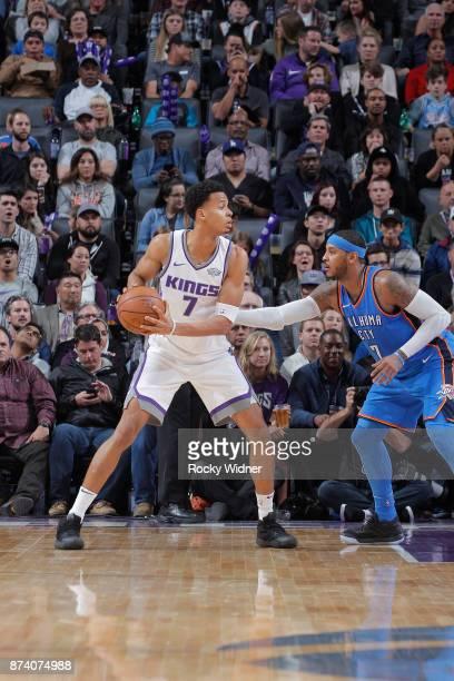 Skal Labissiere of the Sacramento Kings handles the ball against Carmelo Anthony of the Oklahoma City Thunder on November 7 2017 at Golden 1 Center...