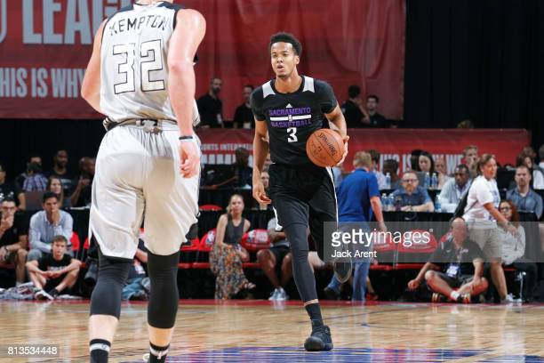 Skal Labissiere of the Sacramento Kings handles the ball against the Milwaukee Bucks on July 12 2017 at the Thomas Mack Center in Las Vegas Nevada...