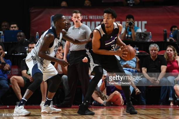 Skal Labissiere of the Sacramento Kings handles the ball against the Dallas Mavericks on July 13 2017 at the Thomas Mack Center in Las Vegas Nevada...
