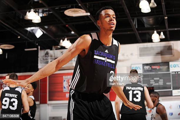 Skal Labissiere of the Sacramento Kings plays defense against the Atlanta Hawks during the 2016 NBA Las Vegas Summer League game on July 13 2016 at...