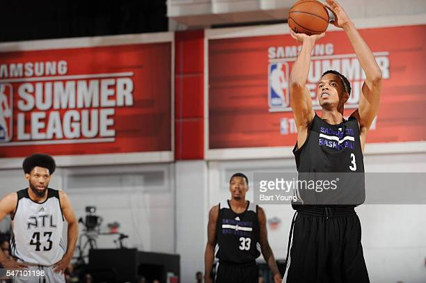 Skal Labissiere of the Sacramento Kings shoots a free throw against the Atlanta Hawks during the 2016 NBA Las Vegas Summer League game on July 13...