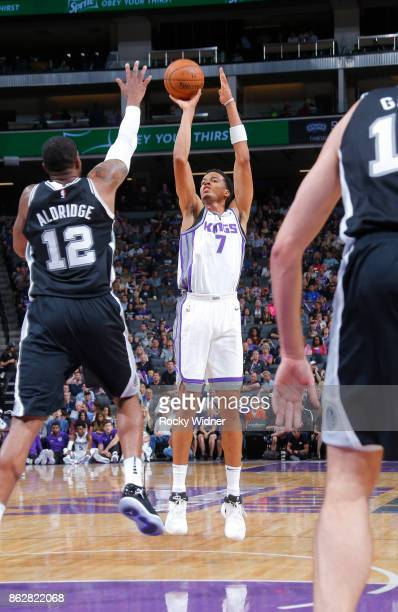 Skal Labissiere of the Sacramento Kings shoots against LaMarcus Aldridge of the San Antonio Spurs on October 2 2017 at Golden 1 Center in Sacramento...