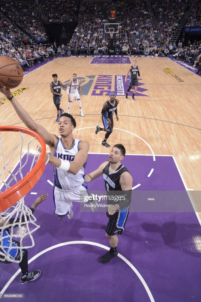 Skal Labissiere #3 of the Sacramento Kings shoots the ball against the Orlando Magic on March 13, 2017 at Golden 1 Center in Sacramento, California.