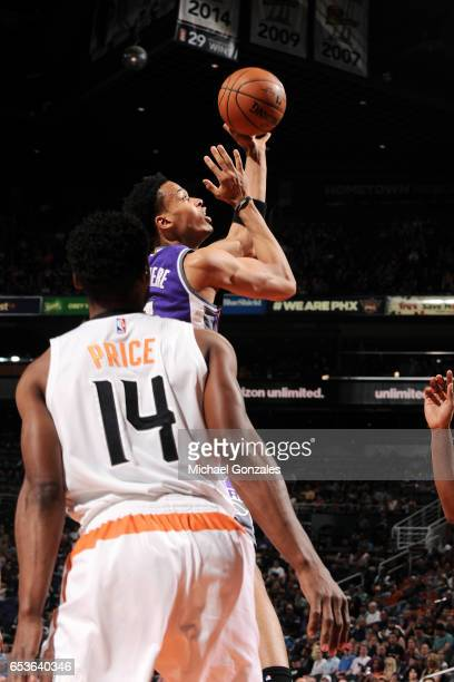 Skal Labissiere of the Sacramento Kings shoots the ball during the game against the Phoenix Suns on March 15 2017 at US Airways Center in Phoenix...