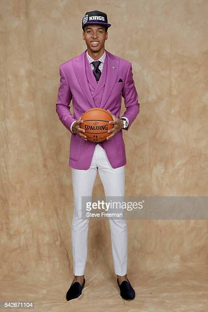 Skal Labissiere poses for a portrait after being traded to the Sacramento Kings during the 2016 NBA Draft on June 23 2016 at Barclays Center in...