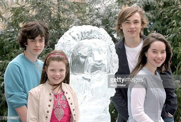 Skandar Keynes Georgia Henley William Moseley and Anna Popplewell alongside a lifesize ice sculpture of Aslan