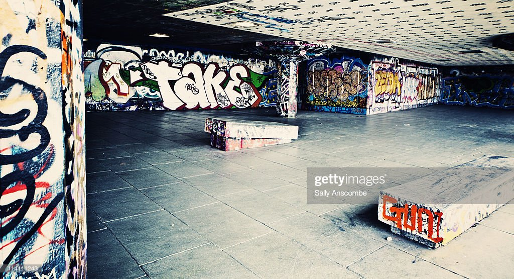 Skate park with graffiti on the walls