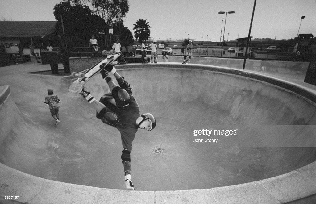 Skateboard champion Tony Hawk practicing at the Del Mar skateboard ranch.