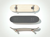 Wooden skateboard isolated on a white background. 3d render