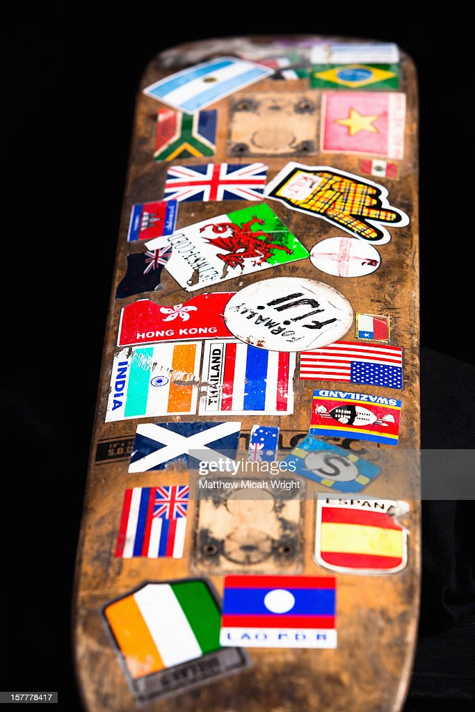 A skateboard that traveled around the world. : Stock Photo