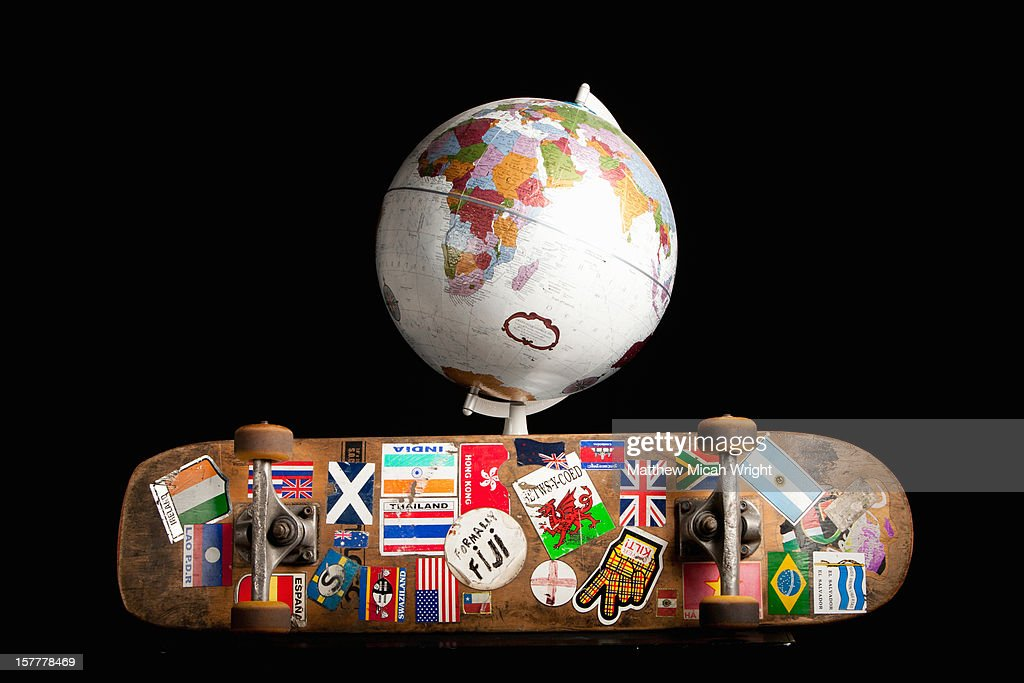 A skateboard that traveled around the world : Stock Photo