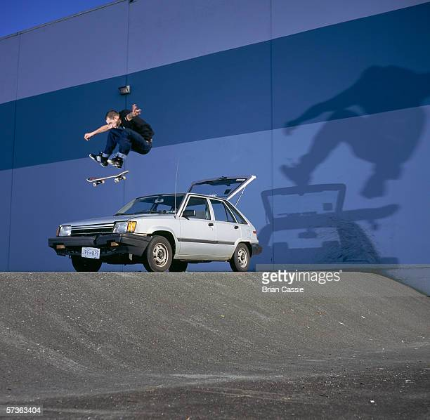 Skateboarder doing stunts