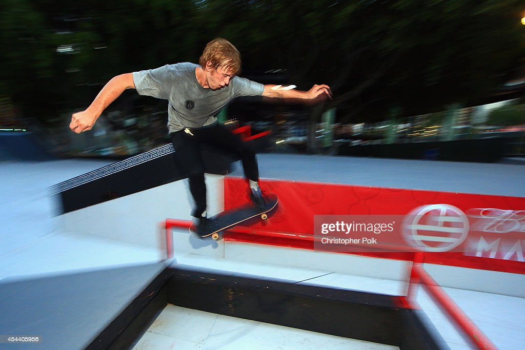A skateboarder during day 1 of the 2014 Budweiser Made in America Festival at Los Angeles Grand Park on August 30, 2014 in Los Angeles, California.
