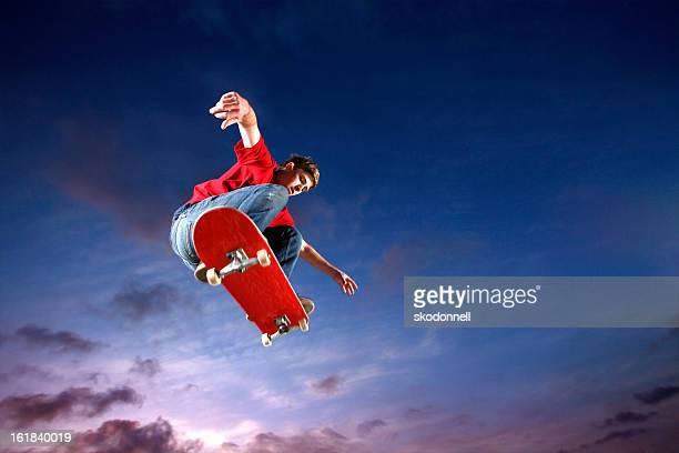 Skateboarder flying through the air