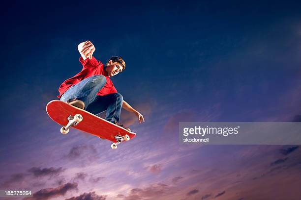 Skateboarder flying through the air