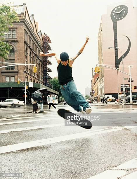 Skateboarder in mid-air