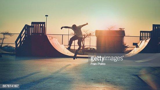 Skateboarder Jumping.