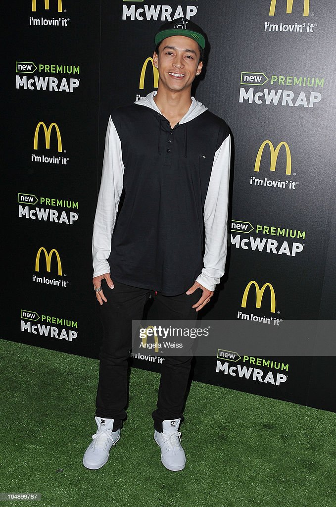 Skateboarder Nyjah Huston attends the launch party of McDonald's Premium McWrap at Paramount Studios on March 28, 2013 in Hollywood, California.