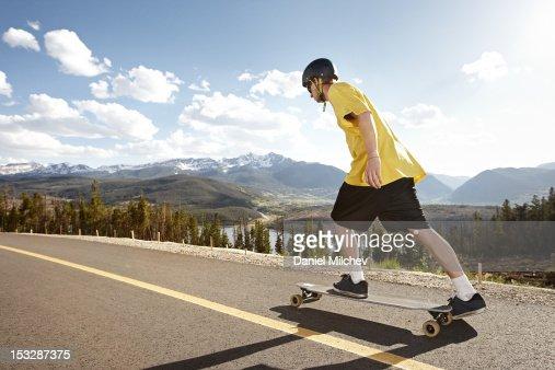 Skateboarder starting his ride. : Stock Photo
