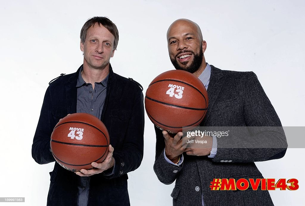 Skateboarder Tony Hawk and actor Common pose for a portrait during Relativity Media's 'Movie 43' Los Angeles premiere at TCL Chinese Theatre on January 23, 2013 in Hollywood, California.