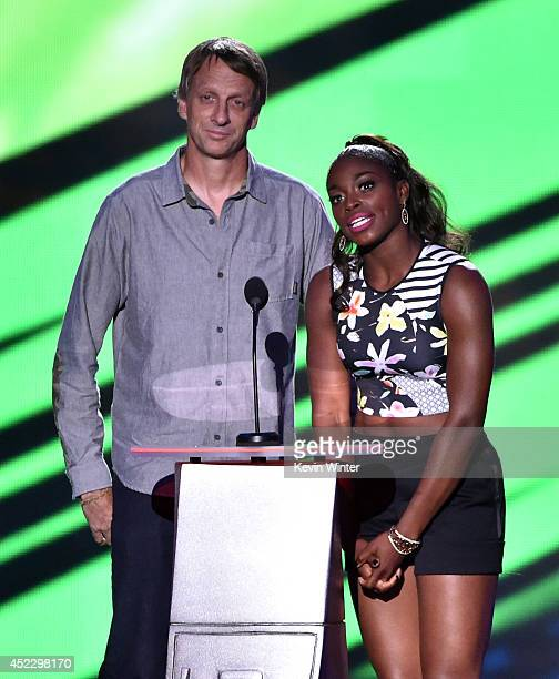 Skateboarder Tony Hawk and tennis player Sloane Stephens speak onstage during Nickelodeon Kids' Choice Sports Awards 2014 at UCLA's Pauley Pavilion...