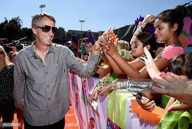 Skateboarder Tony Hawk attends Nickelodeon Kids' Choice Sports Awards 2014 at UCLA's Pauley Pavilion on July 17 2014 in Los Angeles California