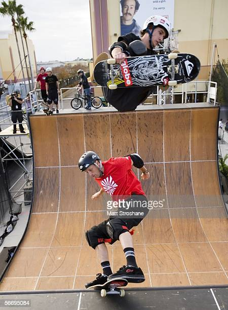 Skateboarder Tony Hawk performs with Jean Postec during his Grand Jam at Universal Orlando January 28 2006 in Orlando Florida Hawk and his crew...