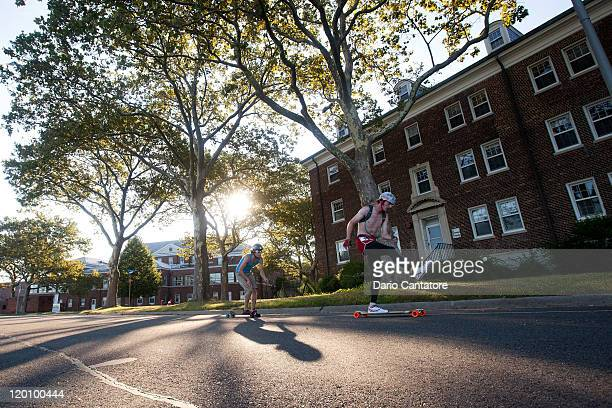 Skateboarders perform during the 2011 New York City Adrenalina Skateboard Marathon world tour on Governors Island on July 30 2011 in New York City