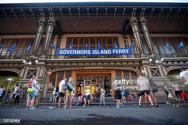 Skateboarders wait to board the ferry to Governors Island for the 2011 New York City Adrenalina Skateboard Marathon world tour on Governors Island on...