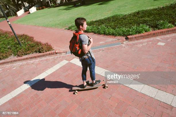 Skateboarding around campus