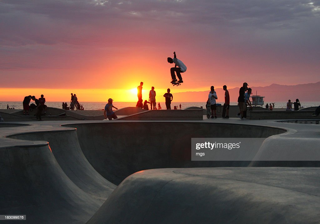 Skateboarding at Venice Beach : Stock Photo