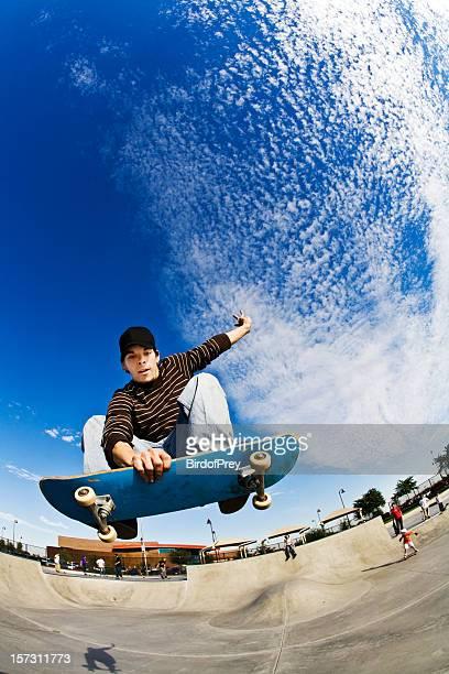 Skateboarding in Style Flying High, Fisheye Closup..