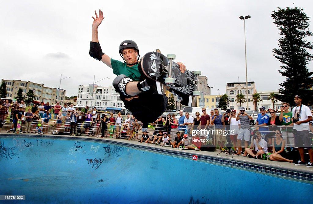 Skateboarding legend Tony Hawk in action during a visit to Bondi Skate Park at Bondi Beach on January 24 2012 in Sydney Australia