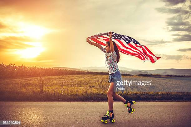 Skater Girl With Flag