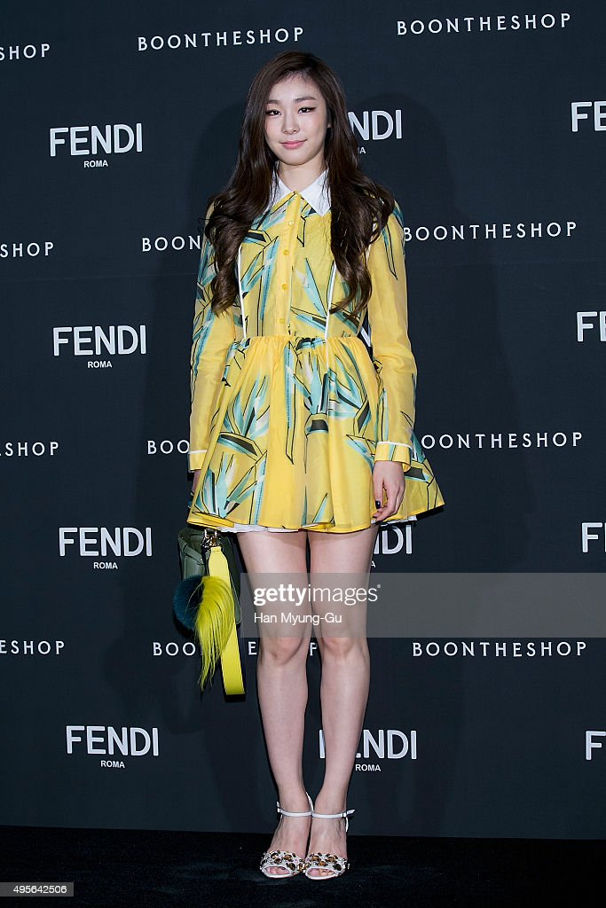Skater Kim YuNa attends the photocall for FENDI Seoul PEEKABOO Project Exhibition at BoonTheShop on November 4 2015 in Seoul South Korea