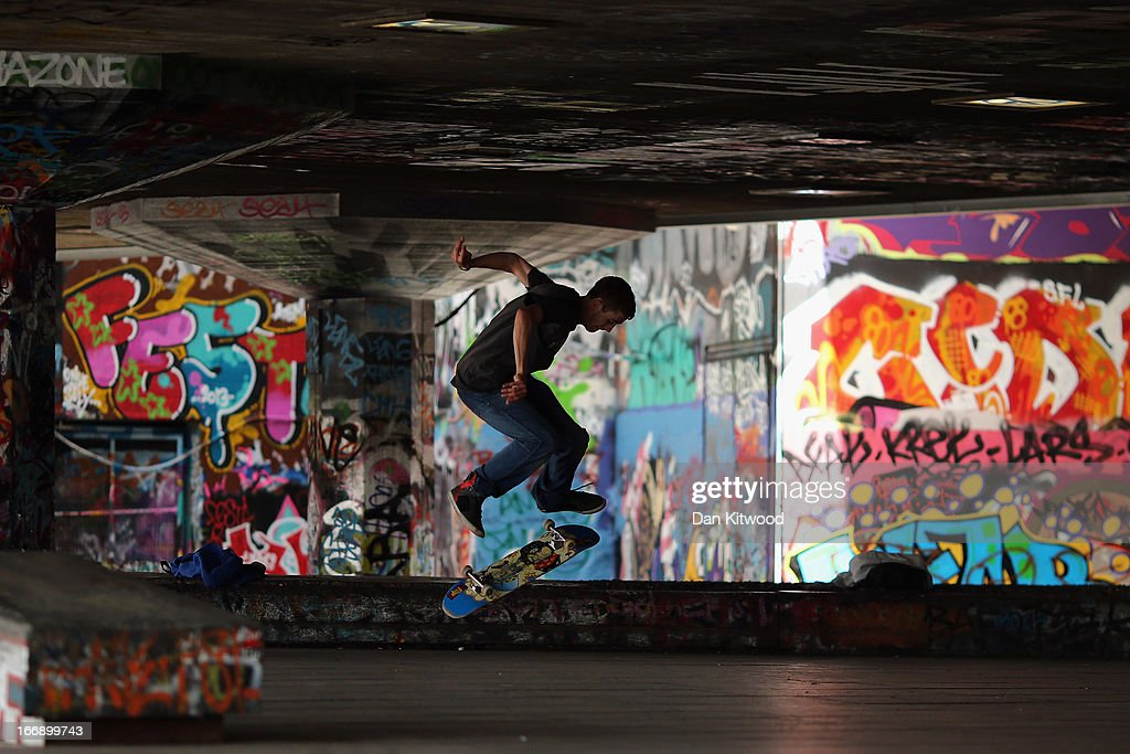 A skater makes a jump in the South Bank skatepark on April 18, 2013 in London, England. Plans are underway to refurbish the Festival Wing, the Queen Elizabeth Hall, Purcell Room and Hayward Gallery complex, including the 'Undercroft', which would be replaced with new arts venues and retail outlets. The skate park, hailed as the birthplace of British skateboarding is to be moved to nearby Hungerford bridge, which has caused anger amongst the skateboarding and bmxing community.