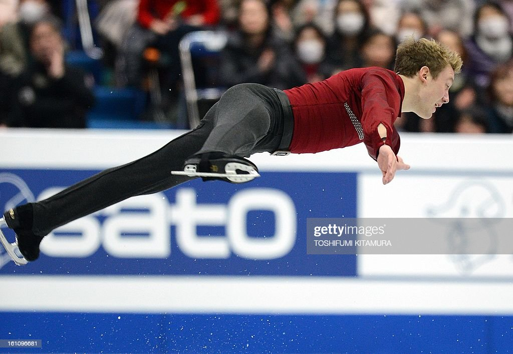 US skater Ross Miner performs his free skating in the men's event during the Four Continents figure skating championships in Osaka on February 9, 2013. AFP PHOTO / TOSHIFUMI KITAMURA