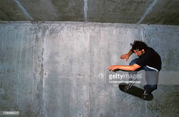Skater wall riding in a car park Bromley 2000