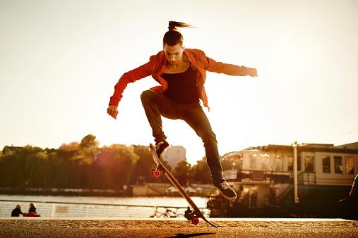 Skater Woman Jumping