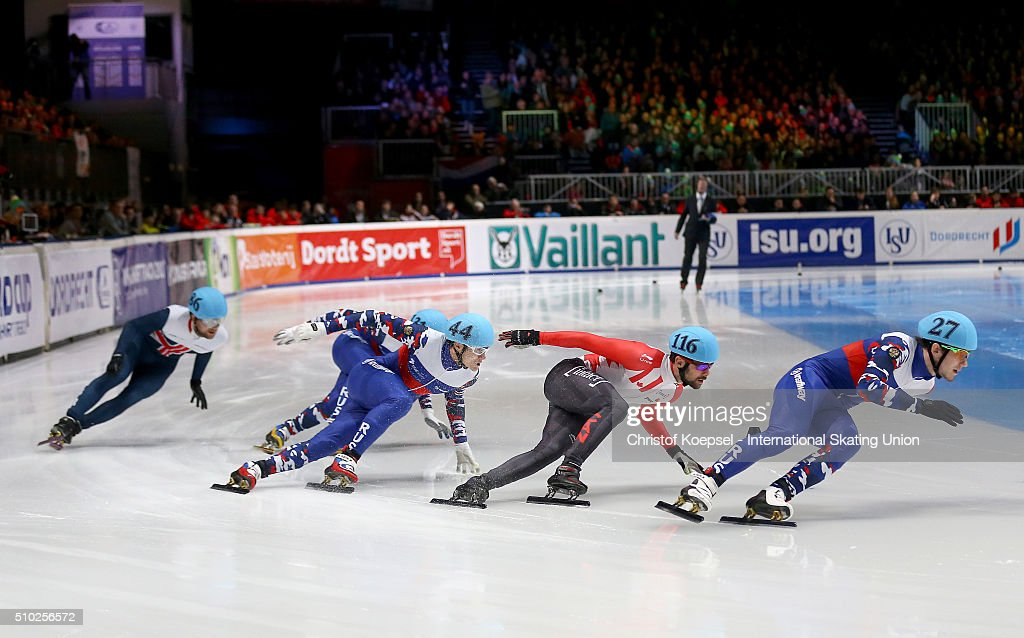 Skaters compete during men 500m semifinal heat one during Day 3 of ISU Short Track World Cup at Sportboulevard on February 14, 2016 in Dordrecht, Netherlands.