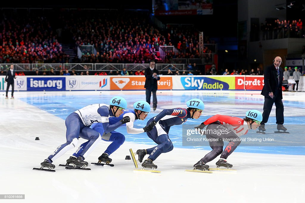 Skaters compete during the men 1000m semifinal second race heat one during Day 3 of ISU Short Track World Cup at Sportboulevard on February 14, 2016 in Dordrecht, Netherlands.