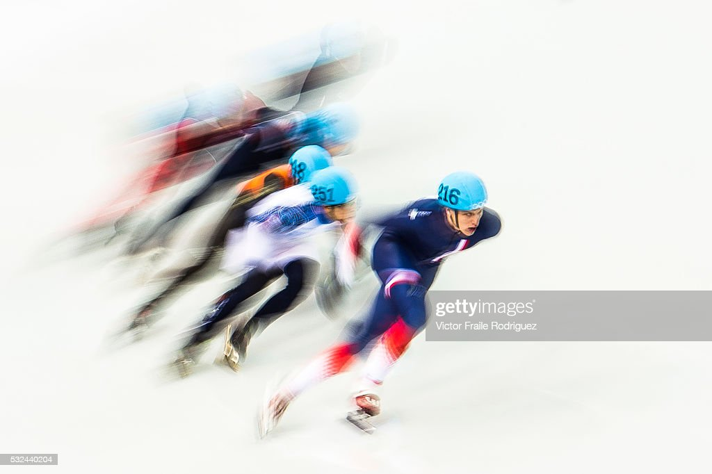 Skaters compete during the Short Track Speed Skating as part of the 2014 Sochi Olympic Winter Games at Iceberg Skating Palace on February 10 2014 in...
