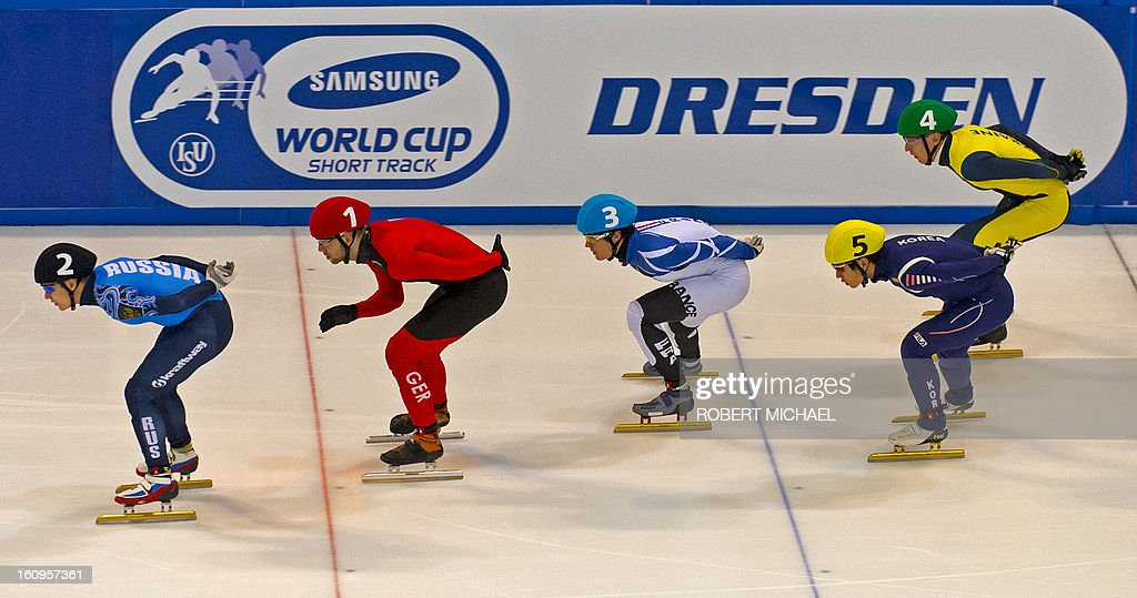 Skaters compete in the men's 1500m heat race of the ISU World Cup short track speed skating event in Dresden, eastern Germany, on February 8, 2013.