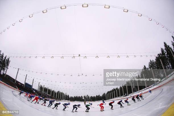 Skaters compete in the men's mass start during day three of the World Junior Speed Skating Championships at Oulunkyla Sports Park on February 19 2017...